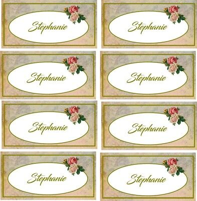 Vintage inspired personalized Tea Party wedding shower name cards set of 8 - Personalized Tea Set