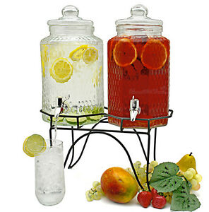 TWIN DRINK DISPENSER GLASS JUICE COCKTAIL WATER PARTY PUNCH JUGS 3.8L BEVERAGE