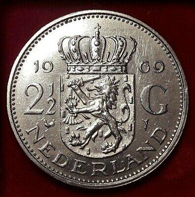 2-1/2 Gulden, 1969, TTB, Nickel, KM#191  Pays-Bas, Juliana Nederlanden