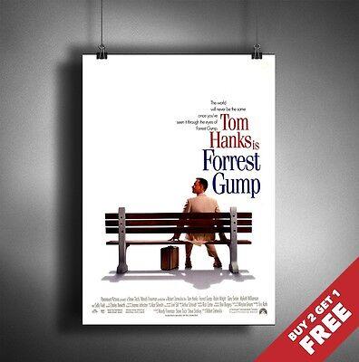 FORREST GUMP Poster A3 / A4 Tom Hanks Classic Movie Art Print Home Room Decor