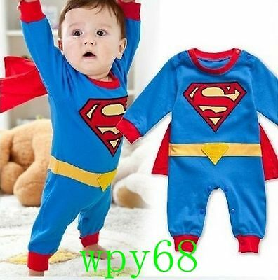 Superman Suit Fancy Dress SuperHero Costume for Baby Toddler Kid Boy Romper - Superman Costume For Toddler Boy