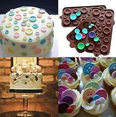Button Mold (Silicone Button-shaped Chocolate Jelly Cupcake Tray Baking Muffin Mold)