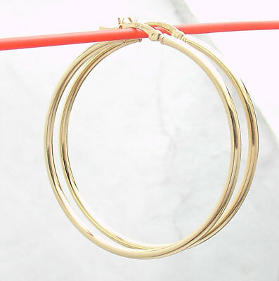 "1 3/4"" Technibond Shiny Plain Round Hoop Earrings 14K Yellow Gold Clad Silver"