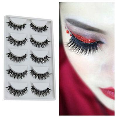 5 Pairs Black Wispy Cross False Eyelash Soft Long Makeup Eye Lash Extension ifac