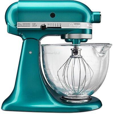 New KitchenAid Cristal Marino Green Tilt Stand Mixer 5-qt Glass Bowl KSM155GBSA