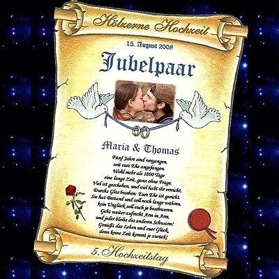 Hölzerne Hochzeit - 5. oder 10. Hochzeitstag GESCHENK Urkunde mit und ohne Foto