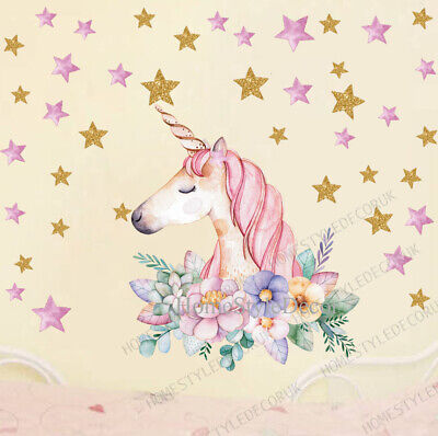 Home Decoration - Magical Unicorn Horse Stars Children Wall Stickers Girls Decor Decal UK Home DIY