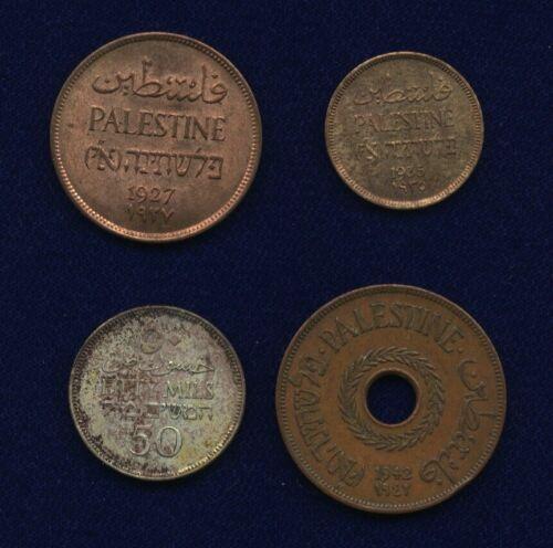 PALESTINE: 1935 MIL, 1927 2 MILS, 1942 20 MILS, & 1927 50 MILS, LOT OF (4) COINS