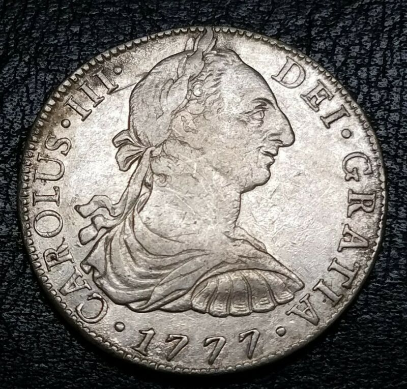 1777 FM Mexico 8 Reales Colonial First U.S. Silver Dollar Milled Bust Type Coin