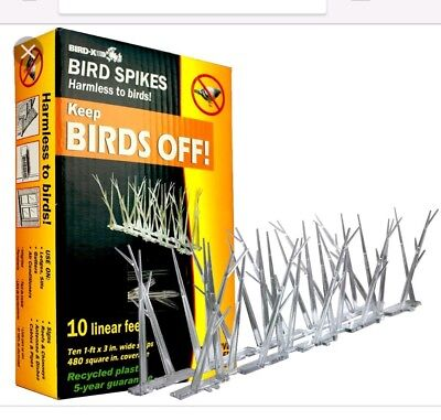 NEW BIRD X KEEP BIRDS OFF 10 LINEAR  FEET PLASTIC SPIKES WITH ADHESIVES GLUE