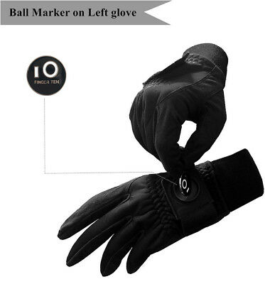 Mens Winter Golf Gloves  with Ball Maker Pair Warm Windproof Outdoor -