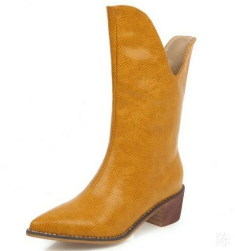 New Fashion Mid Calf Cowboy Boots Low Heel Pointy Toe Women Motorcycle Boots Sz