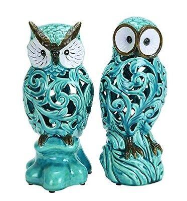 Benzara Decorative Ceramic 11in Owl in Blue w/Well Design (Set of 2)- 38873 NEW