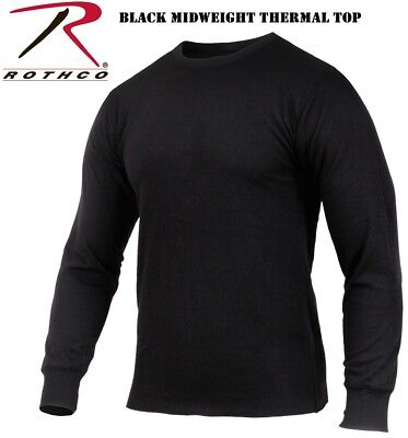 Black Midweight Crew Neck Thermal Long Johns Top Underwear Shirt Rothco 2827