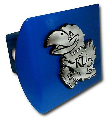 Kansas University Jayhawk Logo Royal Blue Chrome Trailer Hitch Cover Made In Usa