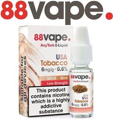 88 Vape E-Liquid 3mg 6mg 11mg 16mg Nicotine Any Pen 10m Vape Juice Pack Of 10