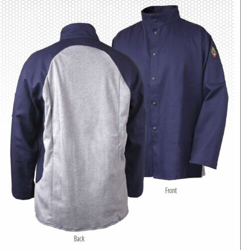 REVCO JF1625-NG Welding Jacket Black Stallion S-4XL Cotton Back FR Coat 9oz