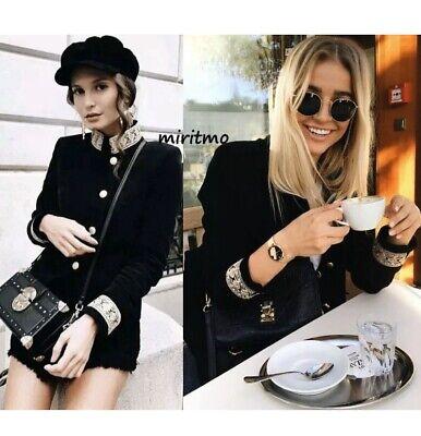 Zara Blazer Jacket Black Velvet Gold Trim Passementerie Mandarin Collar Size XL