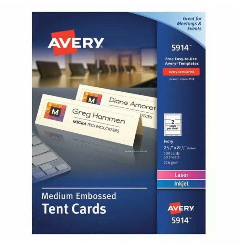 AVERY 5914 Tend Card,2 Up,Ivory,PK100