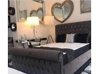 Smooth velvet sleigh bed premium UK made Double or Kingsize