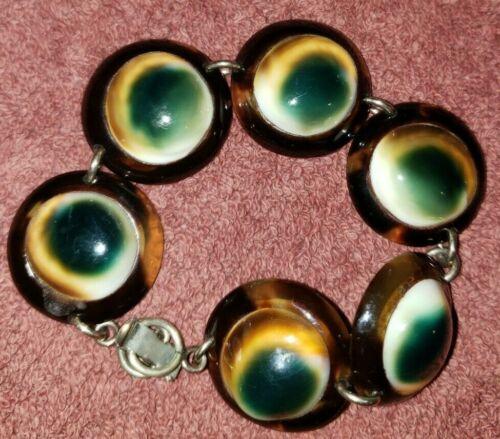 "Antique Victorian Faux TORTOISE SHELL Evil Eye Bracelet 7"""