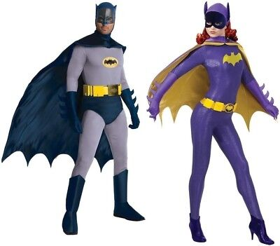 Couples Costumes Batman And Batgirl Adult 60'S Tv Show Retro Cosplay Halloween - Batman And Batgirl Halloween Costumes