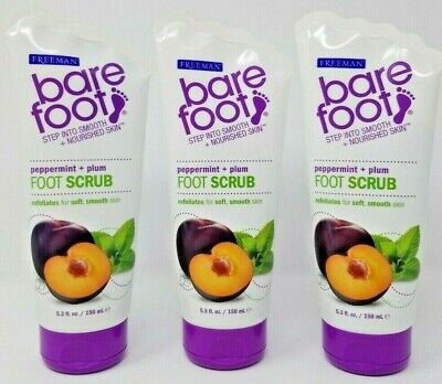 - Freeman Bare Foot Peppermint & Plum Foot Scrub Exfoliates Qty 3 Tubes 5.3 Oz