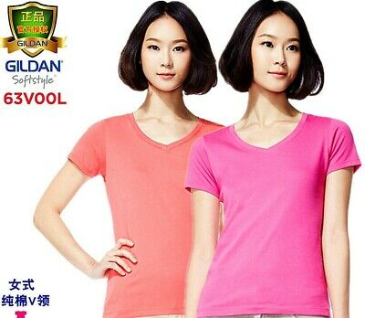 Gildan Ladies Ultra Cotton T Shirt Womens Tee V-collar Short-sleeved - Gildan Ladies Tee