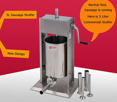 Stainless Steel Commercial Vertical Sausage Stuffer Restaurant Meat Pork  3L 8lb
