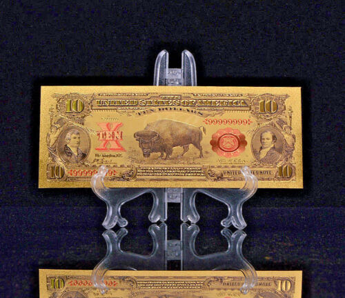 "MAKE OFFER <MINT GEM>1899 ""GOLD""$10 BISON GOLD CERTIFICATE Rep.*Banknote~ haq"