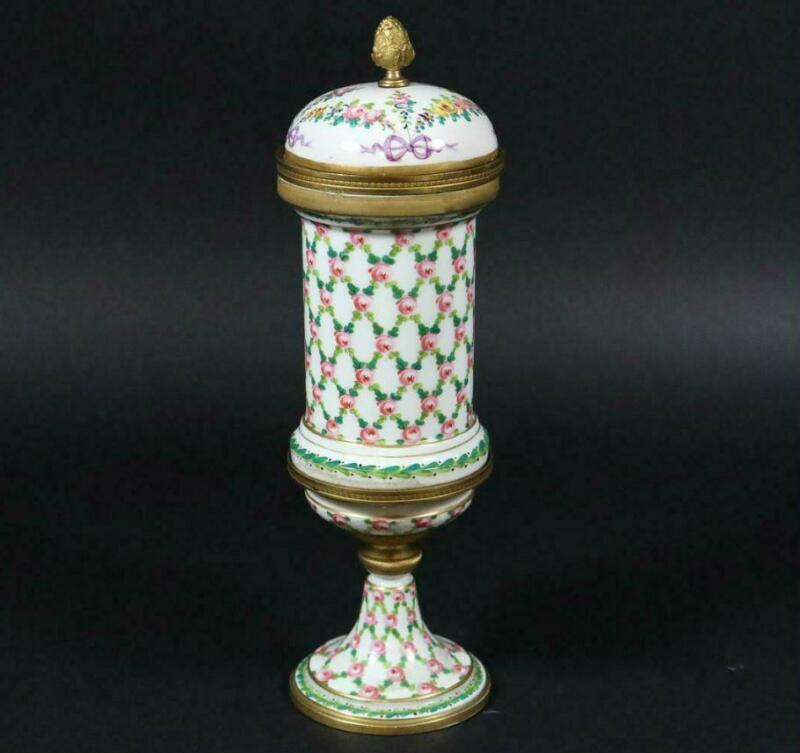 Antique Porcelain Urn/Pokal w/Bronze Mounts Hand-Painted Sevres France dat.1770
