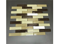 Brown And Beige Glass Mosaic Sheets, Suitable For Any Bathroom,Kitchen