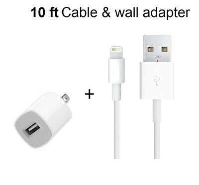 Home Wall Charger + 10ft USB Lightning Cord Cable OEM for iPhone 7/6S/6/5/5S