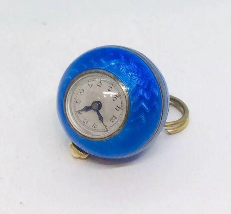 Antique Art Deco Sterling Silver Blue Enamel Guilloche Ball Watch Pendant