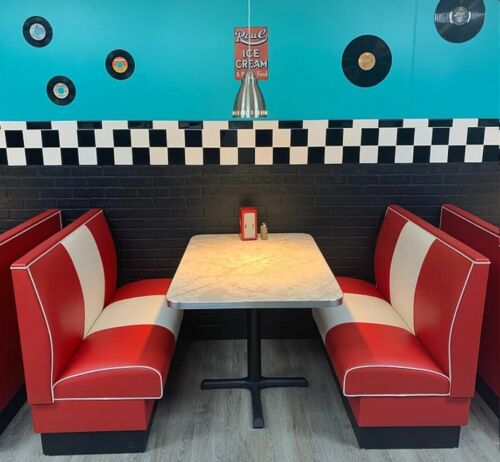 Retro Double Banded Back Style Booth Set with Aluminum Edge Table