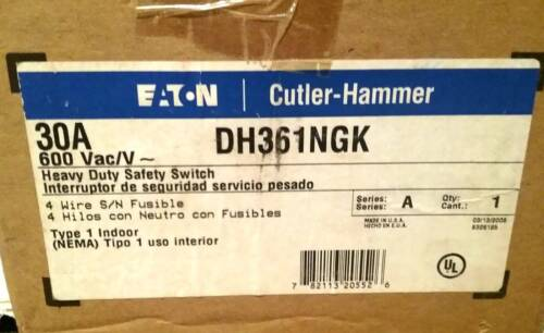 Eaton Cutler Hammer DH361NGK 30 A, 600V disconnect. New. Free Shipping