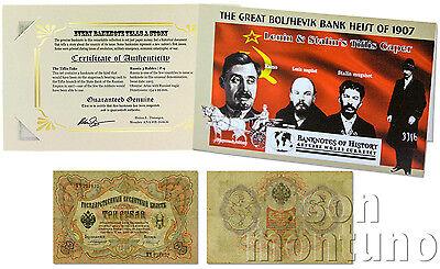 GREAT BOLSHEVIK 1907 BANK HEIST - Lenin Stalin 1905 RUSSIA 3 Rubles Banknote