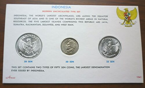 1955 1957 1961 INDONESIA - MINT UNC TYPE COIN SET (3) - 25, 50 & 50 SEN - RARE