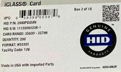 Brand New 100x Hid Iclass Reader Card 2000pggmn Format H10301rfid
