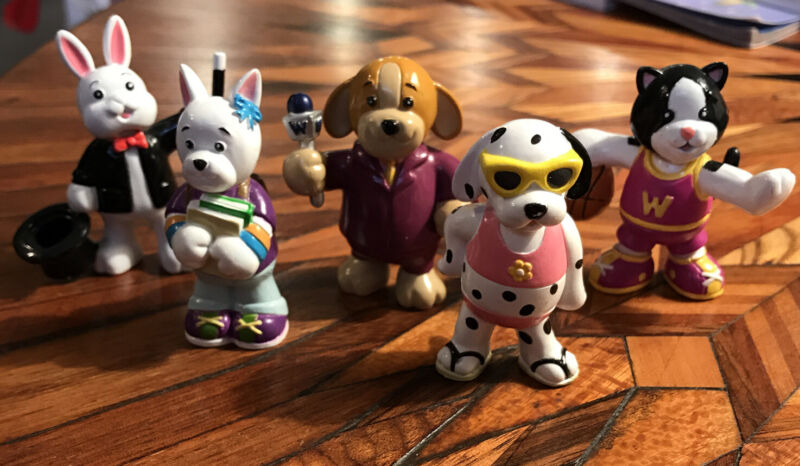 LOT (5) WEBKINZ PVC Toy Figures Cake Toppers Bunny Dogs Cat - Rare!!
