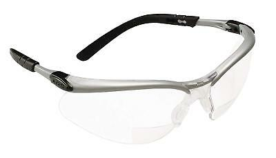 3M 11375 BX Reader Protective Eyewear, Clear Lens, Silver Frame, +2.0 Diopter
