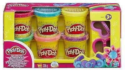 Play-Doh Sparkle Compound - 6 Colours - 2 Cutters - Glitter Sparkle