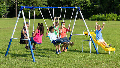 Kids Playground Metal Swing Set Outdoor Children Slide Backyard Swingset Seat ()