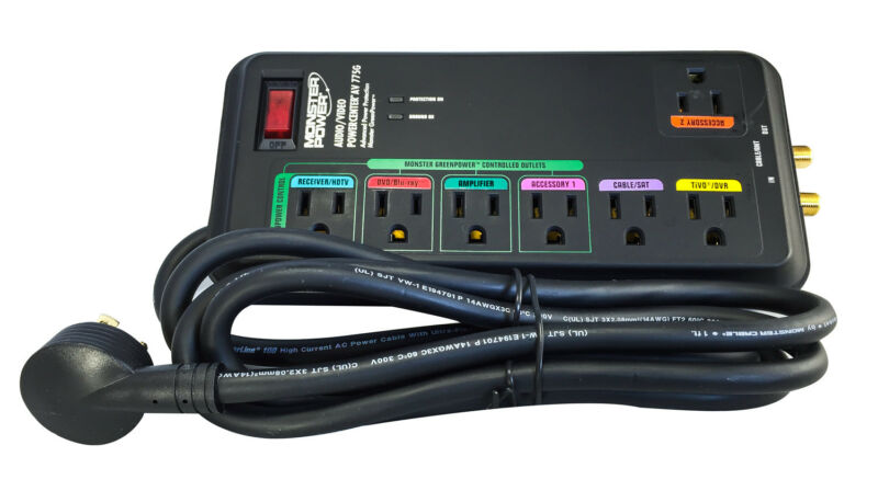 Monster Power MP AV 775G Green Power Surge Protector - 7 Outlets - 2160 Joules