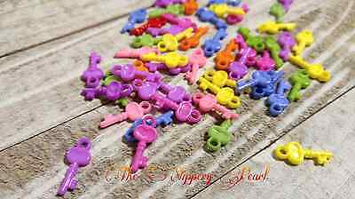 Key Charms (10 Key Charms Assorted Colors Acrylic Key Charms Miniature Key Charms 22mm)