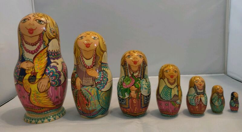 RARE Russian Hand Painted Nesting Dolls Set Of 7, FREE SHIPPING!