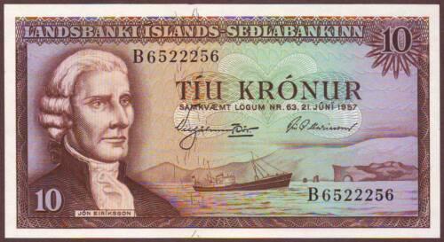 Iceland  10 Kronur  L.1957 (1960)     Gem UNC