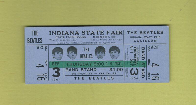 The Beatles Indiana State Fair 1964 Whole Concert Ticket NEAR MINT ORIGINAL RARE