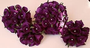 Bridesmaid-Brides-Flowergirl-Purple-Silk-Rose-Flower-Wedding-Diamante-Bouquet