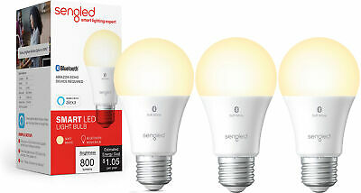 3 Pack Sengled Smart Bluetooth Mesh Dimmable LED Light Bulb Works with Alexa